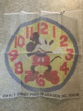 Vintage latch hook rug canvas only large 26� Round Disney Mickey Mouse Watch