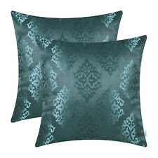 2Pcs Teal Cushion Covers Pillow Shell Damask Shining Dull Contrast Decor 45x45cm