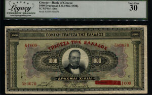 TT PK 100b 1926 (1928) GREECE BANK OF GREECE 1000 DRACHMAI LCG 30 VERY FINE!