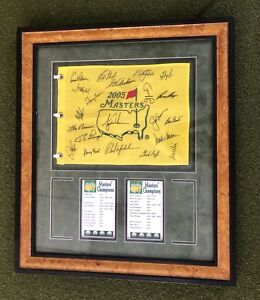 2005 Masters' Flag Tiger Woods Winning Year Signed w/ 21 Signatures Framed