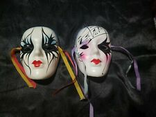 Lot Of 2 Ceramic Mask Wall Decorations