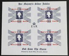 GB – 1977 Silver Jubilee – Daily Mirror Balloon Race – Minisheet - UM (MNH) (R5)