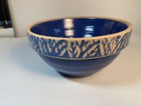 Vintage Blue and Cream Stoneware Pottery Mixing Bowl 6-3/4""