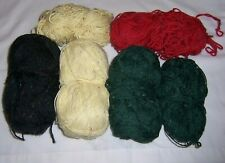 LOT OF 6 UNKNOWN VERY PRETTY YARN - OVER 14 OZ. - BLACK, YELLOW, GREEN & RED