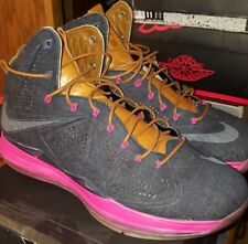 2013 Nike LEBRON X 10 EXT DENIM QS NAVY BLUE HAZELNUT FIREBERRY PINK SIZE 14