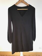 Classic Ahlens (Sweden) Understated Black Lagenlook Tunic Dress XS 36 UK 8 LBD
