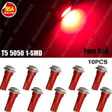 10x T5 Red 58 70 73 74 Dashboard Gauge 1-SMD 5050 LED Wedge Lamp Bulb Lights US