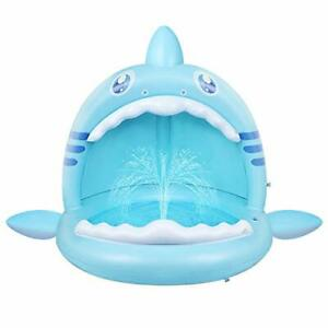 Baby Pool,Shark Splash Toddlers Swimming Pool with Canopy,Portable Inflatable Ki