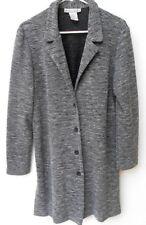 .DRESSBARN Black & White Long Button  Cardigan Sweater Rayon side slits 12 L r39