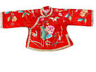 Rich Pomegranate Red Antique Late Qing Dynasty Silk Embroidered Childs' Robe