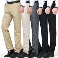 Mens Casual Business Dress Formal Long Straight Pants Trousers Loose Fit Size