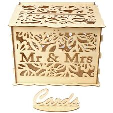 Hollow Wood Diy Wedding Wooden Box Mr Mrs Wedding Sign Card Box Flower Gift A1L3