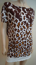 STELLA MCCARTNEY Brown Cream Cotton Leopard Print Short Sleeve Tee Top IT40 UK8