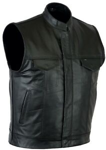 Leatherick Mens SOA Anarchy Real Leather Waistcoat Motorcycle Biker Cut off Vest