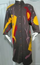 VTG 80s Macy's Mohair Long Sweater Coat Mod Op Art Graphic Vibrant Sz M