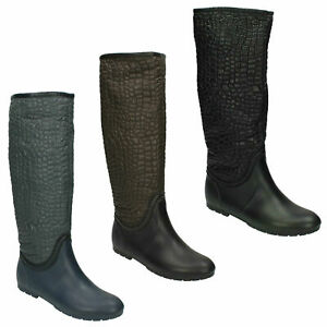 X1R165 LADIES SPOT ON FLAT PULL ON CASUAL WELLINGTON BOOT OUTDOOR LONG WELLIES