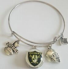 Antique Silver Tone Slide Cuff Charm Bracelet - I LOVE FOOTBALL  Oakland Raiders