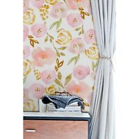 Watercolor roses Non-Woven wallpaper  floral Pink flowers Nursery Home Mural