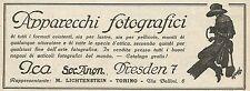 W5318 Apparecchi Fotografici ICA - Pubblicità 1927 - Advertising