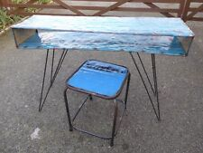 Metal Sideboard Display Unit With Small Table Stool Upcycled Metal Furniture..