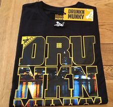 Men's BNWT black DRUNKNMUNKY 'Munky City' graphic short sleeve tee, SMALL