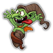 "Goblin Crazy Cartoon Car Bumper Sticker Decal 5"" x 5"""
