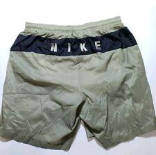 Vtg 1990s Nike Mesh Lined Shorts Swim trunks Spell Out Size XL Tan