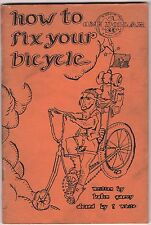 70s Vtg How to Fix Your Bicycle Helen Garvy T White Groovy Hippie Repair Guide