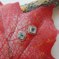 Blautopas blau edel eckig modern Ohrringe, Ohrstecker, 925 Sterling Silber neu