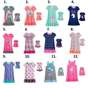 """Girl 4-14 and 18"""" doll matching nightgown pajamas"""