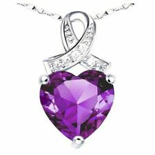 Mabella 6.06 Carat Heart Cut Created Amethyst Sterling Silver Pendant Necklace with 18 inch Chain
