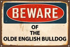 Beware Olde English Bulldog Metal Sign Vintage Home Wall Door Plaque 1228