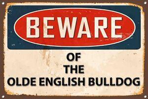 Beware Olde English Bulldog Metal Sign Vintage Home Wall Door Plaque 1228
