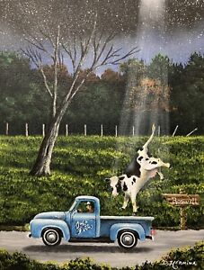 UFO Painting Alien Roswell X Files Area 51 Cow Abduction Original Canvas 14x18