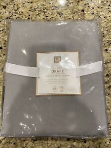 "PB Teen Pottery Barn Cargo Drape Curtain Panel 52"" x 84"" Grommet Light Gray New"