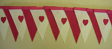 Fabric bunting Valentines Cerise hot Pink hearts & white mini decoration Gift