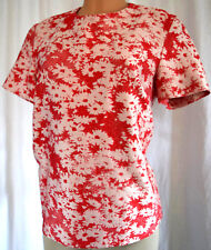STELLA McCARTNEY Red/Off White Short Sleeves Daisy Floral Cotton Blouse Size 46