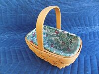 Small Comforts Basket w/ American Holly Liner & Protector Longaberger 2002