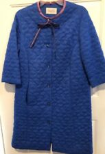 "Vintage Vanity Fair Quilted Beautiful Blue Robe Button UP 50""s DARLING Sz 12 USA"
