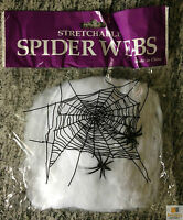 STRETCHABLE SPIDER WEB Spooky Halloween Decoration w 2 Spiders Party Decor New