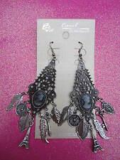 Cameo Charm Dangle Earrings 4 Inches Long