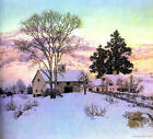 Farm Buildings and House in Winter  by Maxfield Parrish