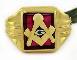 RUBY MASONIC GEMSTONE MEN'S RING 10K YELLOW GOLD *New with Tag* FREE SHIPPING