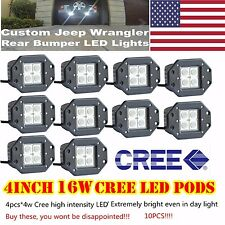 10x 16W Cree Square Flush Mount FLOOD LED Work Light Bumper Off Road Truck 4WD