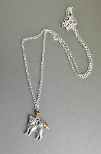 Pug dog cute pendant necklace . yellow crystal silver tone chain charm jewellery