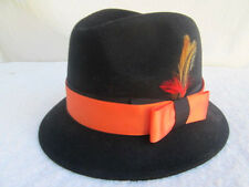 JAXON..BLACK..100% WOOL..FEDORA..BLUES..HAT..sz MED