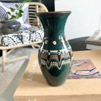Bulgarian Troyan Ceramic Pottery Green bud vase