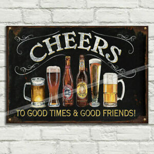 CHEER BEER ALE LAGER DRINKS FRIENDS Plaque Signs Man Cave Pub Club Cafe TIKI BAR