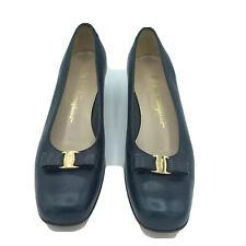 Salvatore Ferragamo Womens Size 8 B Medium Navy Blue Signature Pumps Shoes