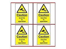 Cámara de Seguridad de las señales de advertencia A4 de plástico de calidad Cctv señales de advertencia: 4 Pack